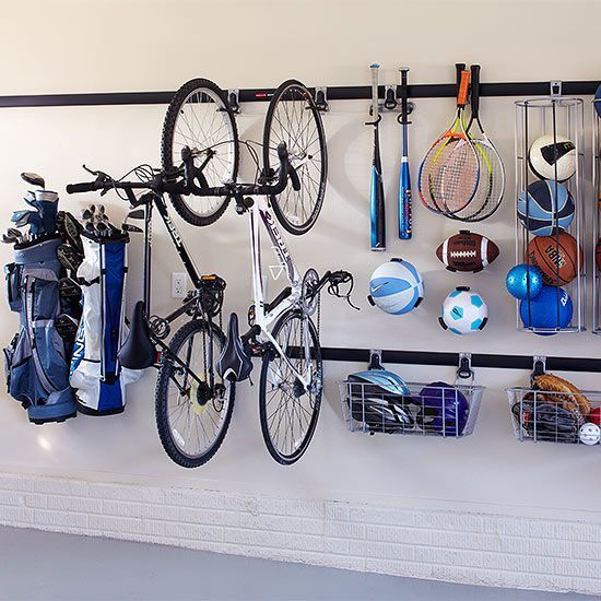 Vertical storage is a lifesaver for hard-to-store items like bikes and sports equipment.