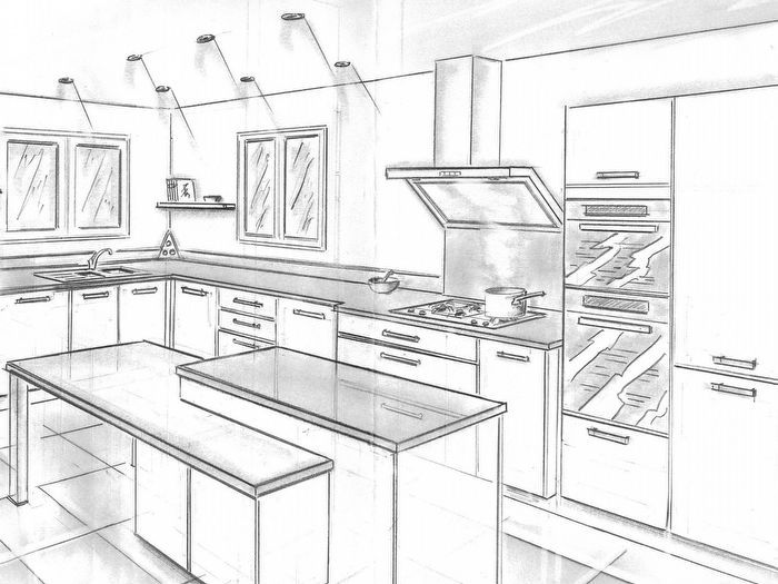 1000 images about dessiner une cuisine en perspective on pinterest cuisine and saints. Black Bedroom Furniture Sets. Home Design Ideas