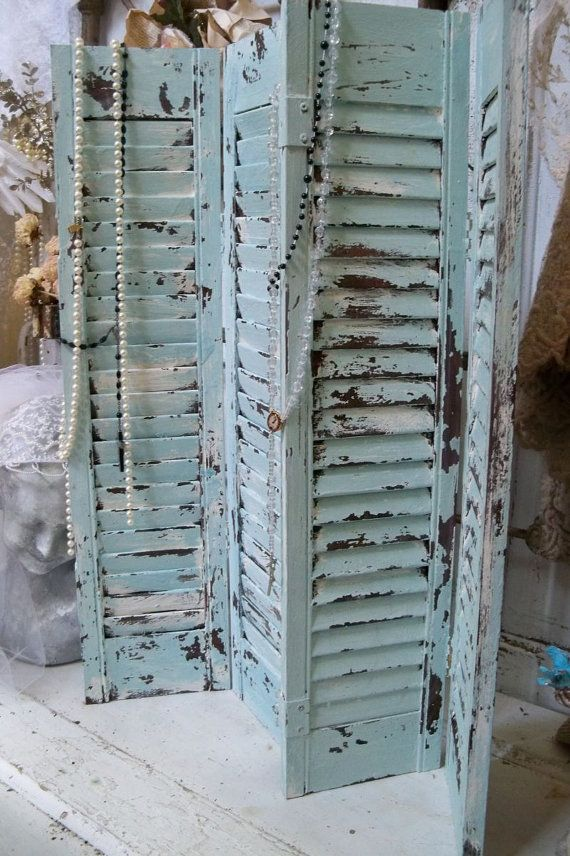 Wooden shutters pale blue and white heavily by AnitaSperoDesign
