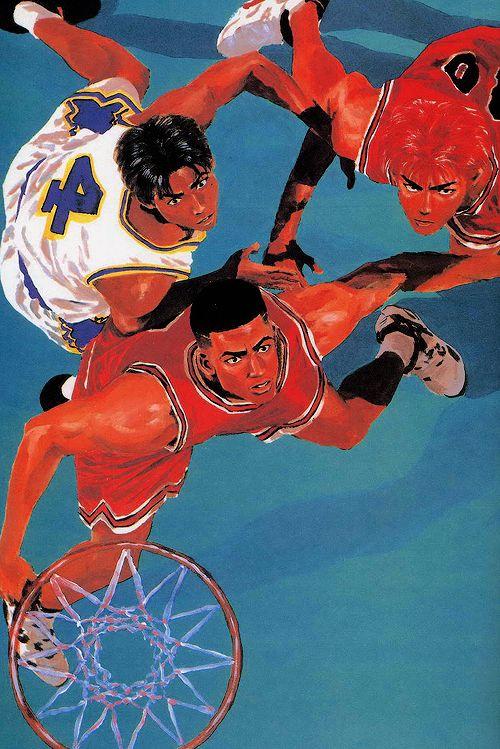 "Takehiko Inoue / 井上雄彦 — ( 1990 – 1996 ) ""Slam Dunk"" / ""スラムダンク"" Illustration [ Takenori Akagi / 赤木 剛憲 , Hanamichi Sakuragi / 桜木 花道 ]"