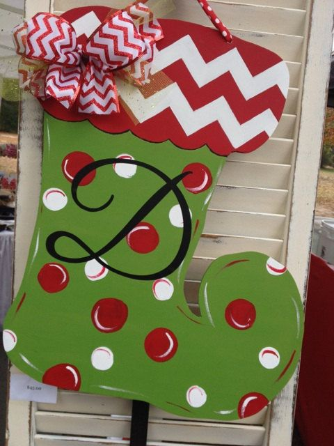 Wooden Christmas Stocking Door Hanger with by ShopSewSouthern, $45.00