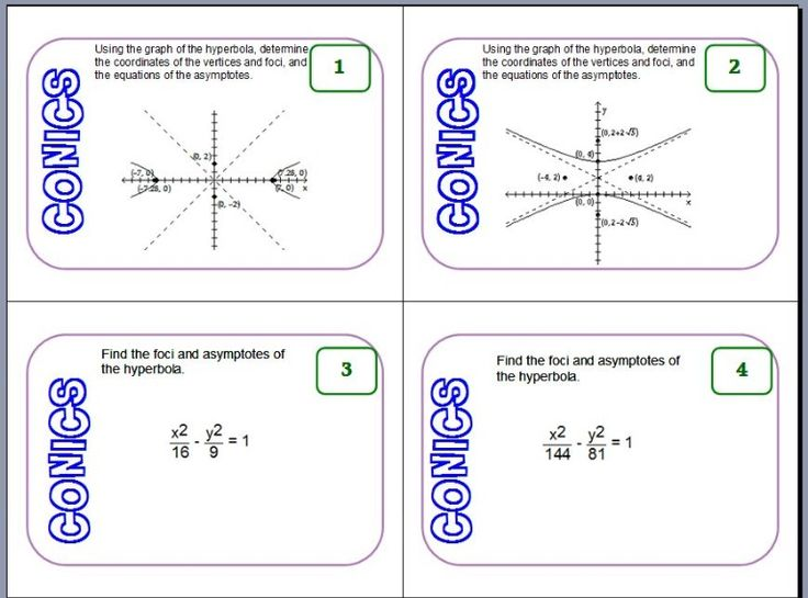 Conic sections review worksheet 7