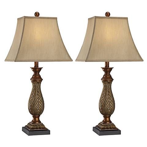 Set of 2 two tone gold 29 high traditional table lamps