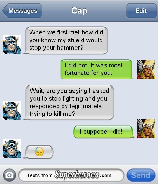 Texts From Superheroes: Captain America & Thor