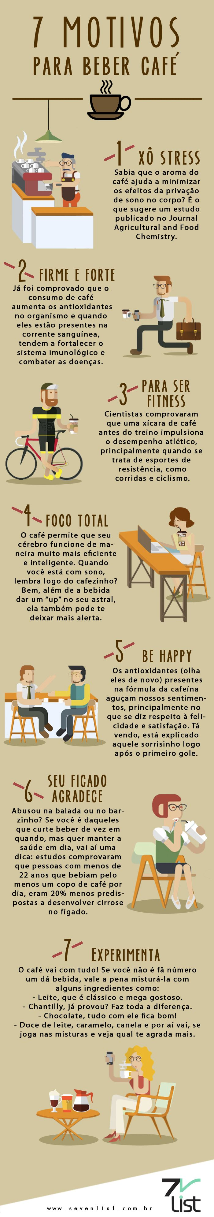 #Infográfico #Infographic #Design #Café #Coffe #Benefícios #Motivos #Saúde #Bebidaquente #Diamundialdocafé #7motivos #7motivosparabebercafé www.sevenlist.com.br