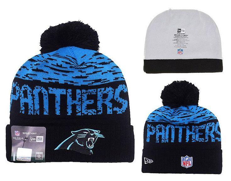 Men's / Women's Carolina Panthers New Era NFL 2016 On-Field Sports Knit Pom Pom Beanie Hat - Blue / Black