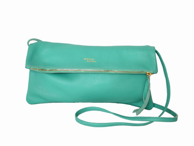 Refreshing turquoise green. Jamie Foldover clutch with removable strap.