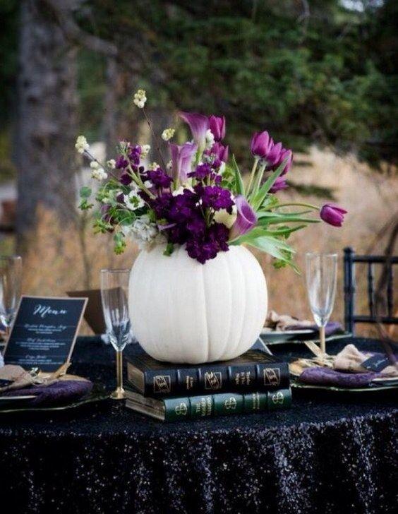 65 amazing fall pumpkins wedding decor ideas - Halloween Wedding Decor