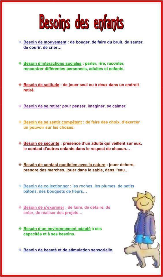 Besoins des enfants - Education Bienveillante Montessori Maternage Astuce Evolution Parentalité positive