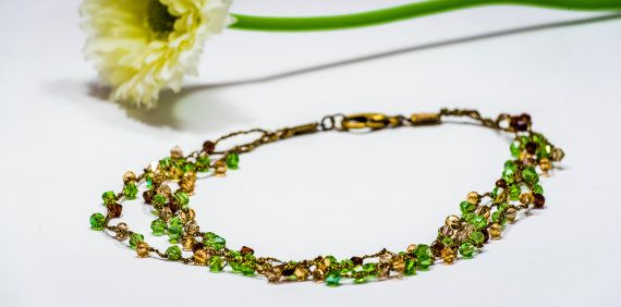 Green Crochet Swarovski necklace, Valentines day gift for women,green necklace, brown necklace, crocheted jewelry, dainty necklace