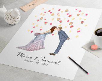 Hochzeit Gast Buch Alternative Custom paar Zeichnung von bleudetoi