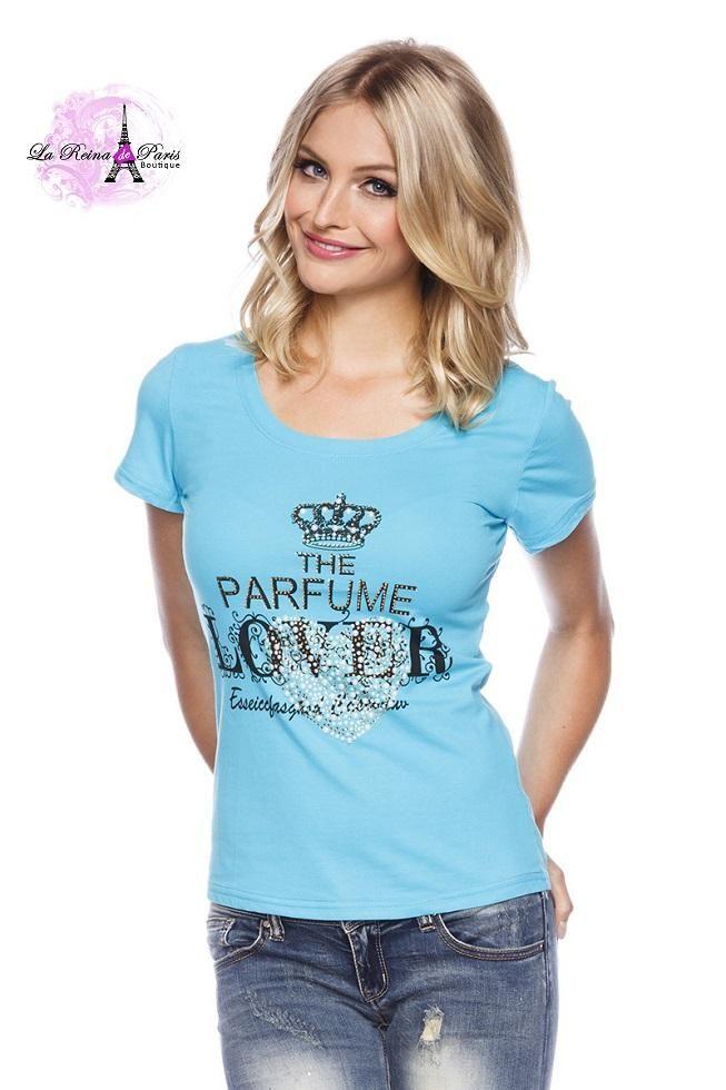 Camiseta moda de tendencia Julieta turquesa