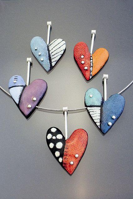 fused glass, scrap,stringers, frit. Heart Pendants