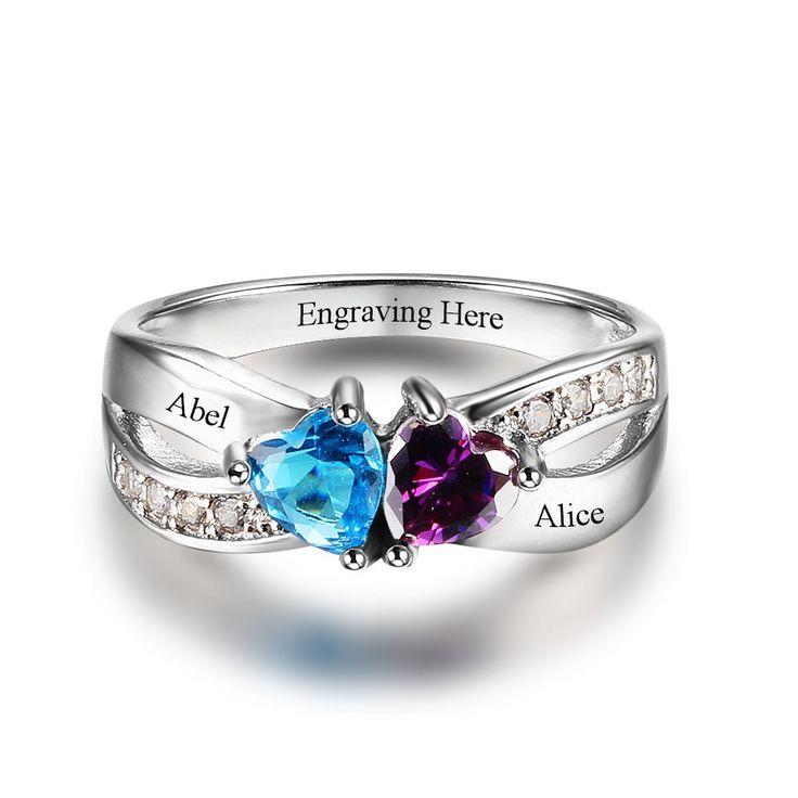 2 Heart Gemstones & Criss-cross Pattern Ring