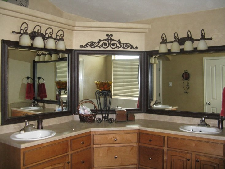 frame those triple mirrors and hide the unsightly seam bathroom mirror frame kit looks gorgeous
