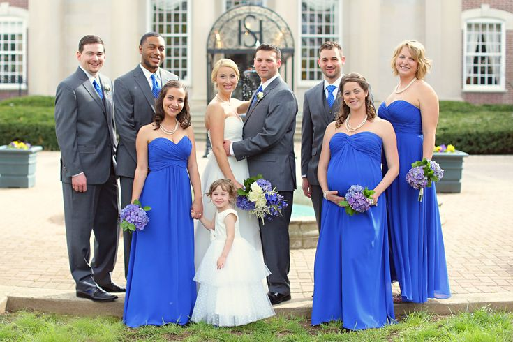 Wedding Party Royal Blue Bridesmaids And Ties With Grey Suits Purple Flowers Bouquets Pinterest