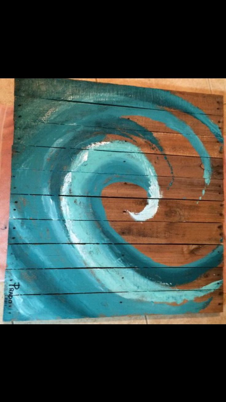Large Wave Pallet Painting by HappySolesxx on Etsy https://www.etsy.com/listing/244150179/large-wave-pallet-painting