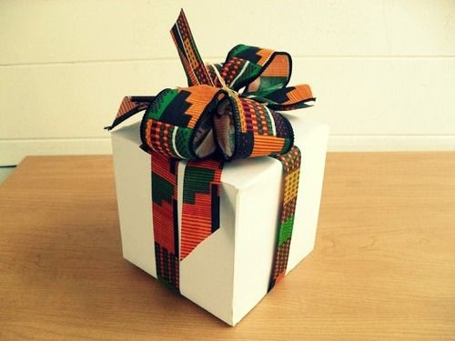 African print fabric ribbon/bows - gift wrap #ThisAfropolitanLife #AfricanGifts #AfropolitanGifts