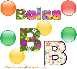 Palabra de la asociación por imagen a la letra b: bolas Serie de varias bolas de colores con la palabra completa y la letra b resaltada.  Realizado, igual que todos los carteles gráficos, con colores que despiertan la atención y