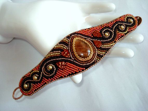 Hey, I found this really awesome Etsy listing at https://www.etsy.com/listing/175916549/jewelrybead-embroidery-bracelet-sunstone