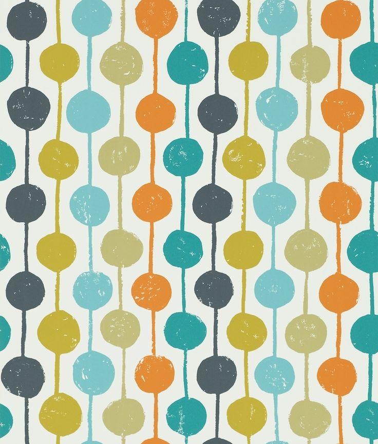Scion Taimi Sulphur,Tangerine and Kingfisher Wallpaper main image