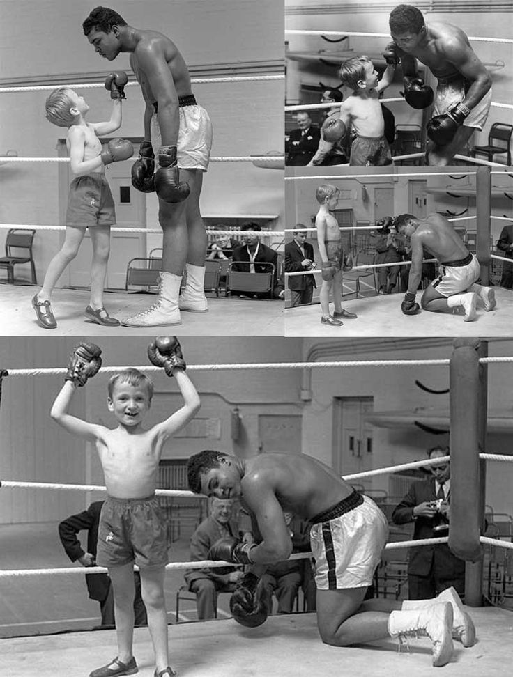Muhammad Ali with 6 years old Patrick Power during his training for the heavyweight title fight against Henry Cooper, 1963