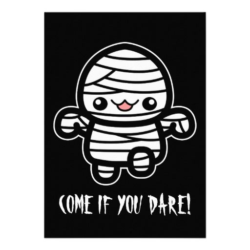 Cute Cartoon Mummy Custom Invite #halloween #mummy #invite