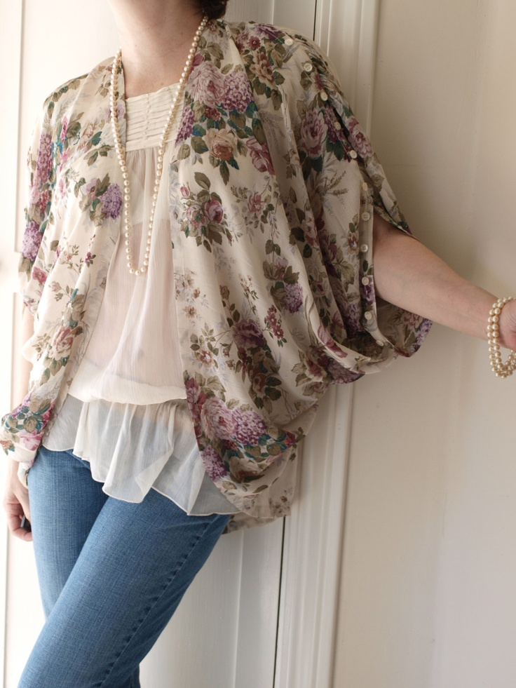 Upcyled Vintage Fabric Shrug Romantic Bohemian Floral by gammaray3, $50.00