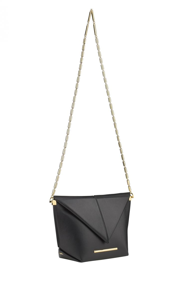 The Classico Bag in black nappa leather with a burnished gold link chain shoulder strap.