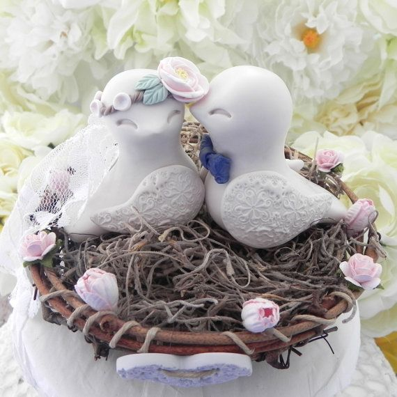 Rustic Love Bird Wedding Cake Topper Peony Flower by LavaGifts