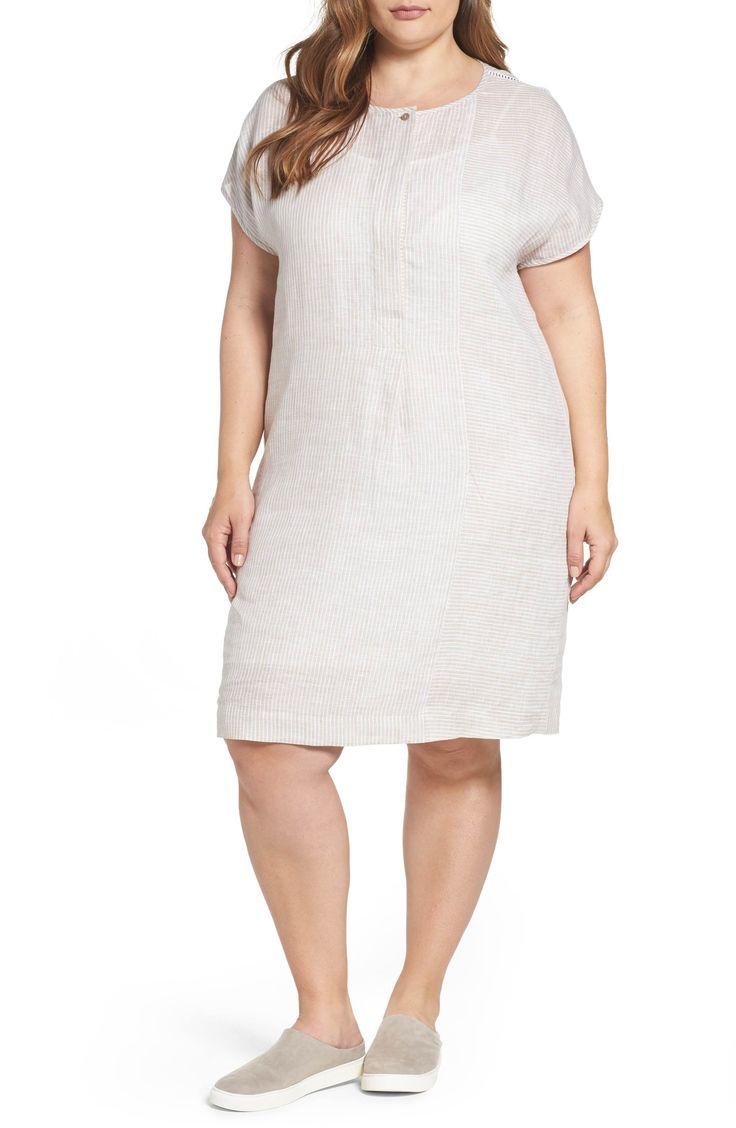 Main Image - Persona by Marina Rinaldi Downtown Stripe Linen Shift Dress (Plus Size)