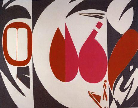 Krasner Lee Misteri 1972 Espressionismo Astratto Krasner in questa opera usa spigoli, ricorda l'arte di popoli indigeni del Pacifico nord-occidentale, ma anche un omaggio ai collage di Henri Matisse, che Krasner era molto ammirata. Krasner usa contrasti di rossi e grigi questo si aggiunge  ulteriormente  alla forte sensazione di contrasto dell'opera..
