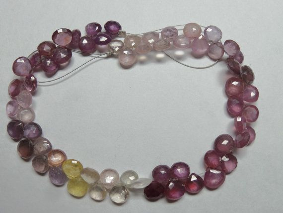 Pretty Natural Multi Sapphire Shaded Faceted Heart by StarGemBeads