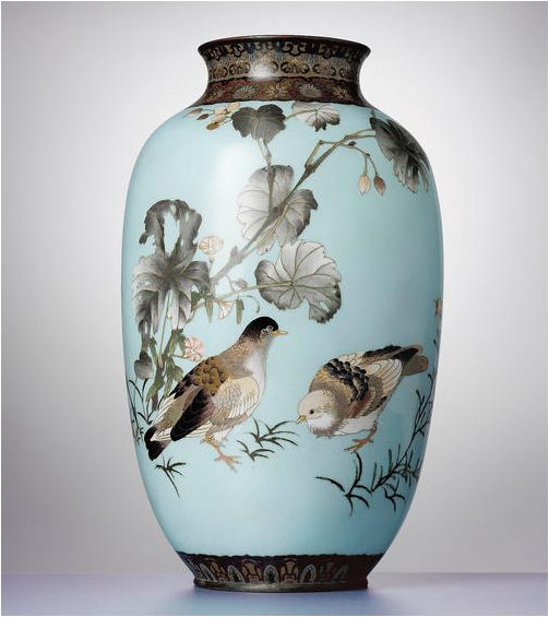 A fine cloisonné enamel sky-blue-ground vase attributed to Namikawa Sosuke