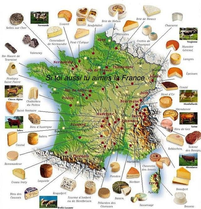 Cheese French map ~ Where they are made