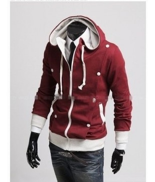 Double Contrast Hoodie  Another amazing addition to the hoodie line~ this is a zip up hoodie with a double breasted deisgn and a contrast colored buttons and edges. Its a unique hoodie and is certainly to be one that very few will have. Available in white, black and red.