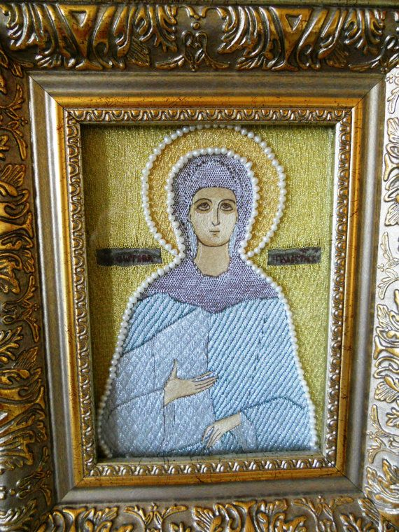 Icon of St. Photine of Palestine - gold embroidery, icon, Russian art, autentic old technique, perl, handmade, Sveta Raskina