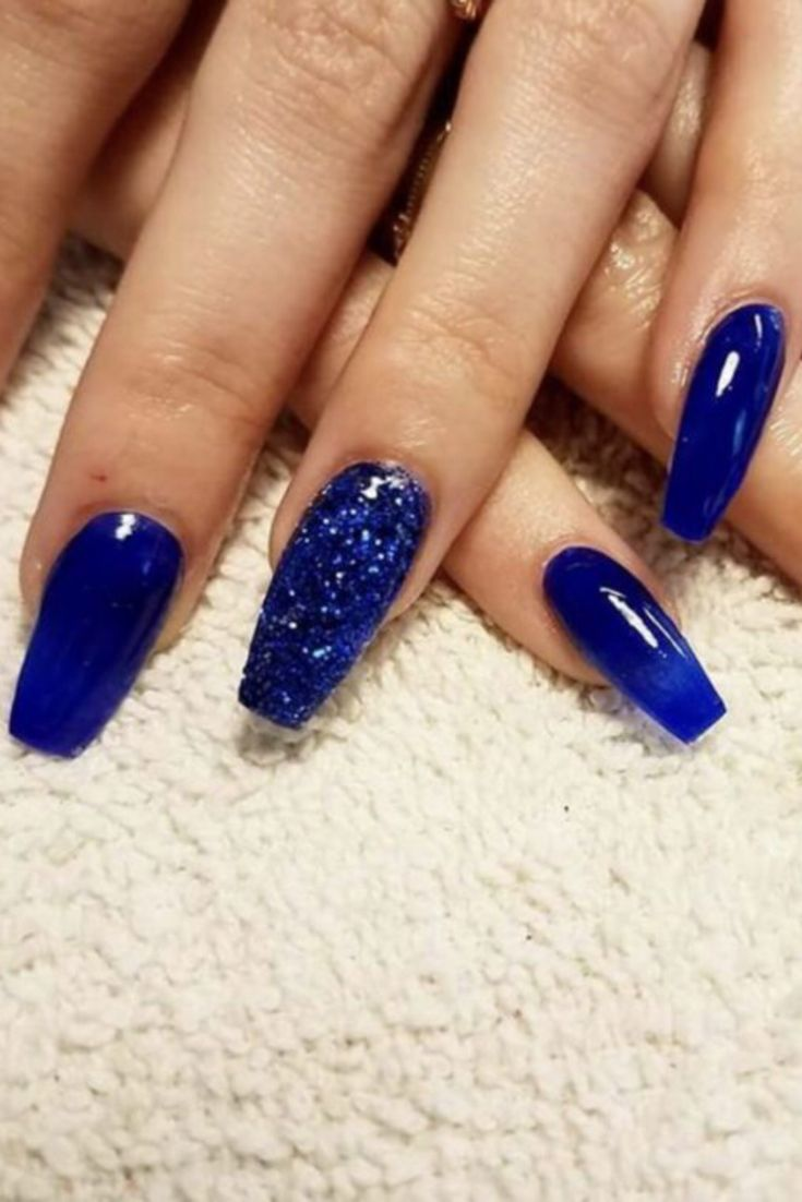 Acrylic Nails Blue Glitter Nails Blue And Silver Nails Blue Acrylic Nails