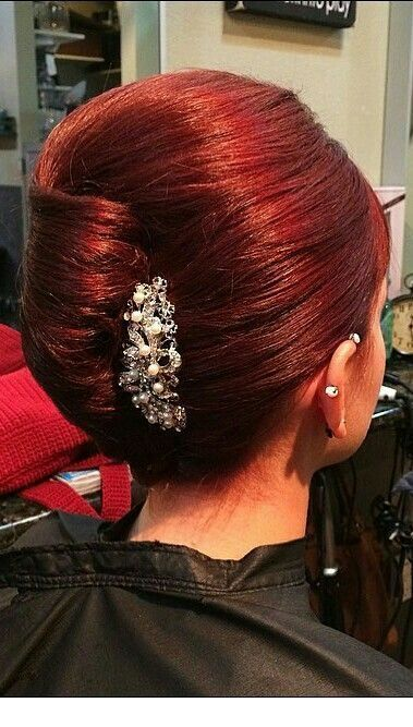Chic red hair into and updo - StepUpLadies.net