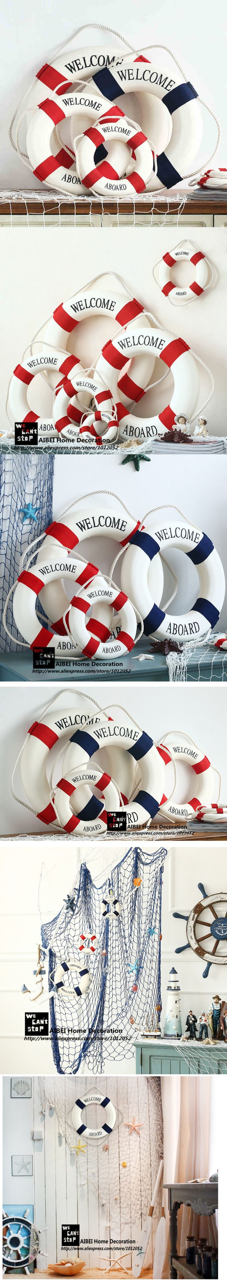 "AIBEI-Mediterranean Style ""welcome aboard"" Cotton Lifebuoy 1PC Bar Living Room Nautical Home Decoration Wall Hanger 3D Sticker  $2.99"