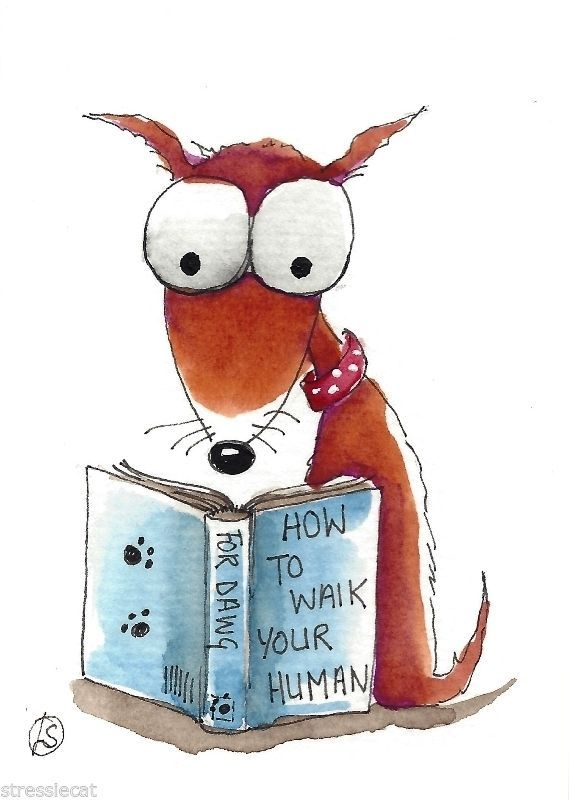 ACEO Original watercolor painting art illustration whimsy folk puppy dog book