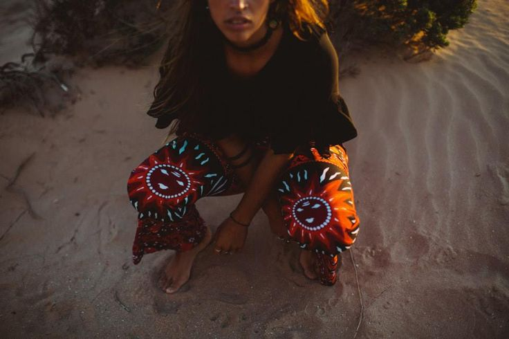 Her Pony Moonchild collection. Red, black and white celestial sun print. Festival fashion. 90s style.