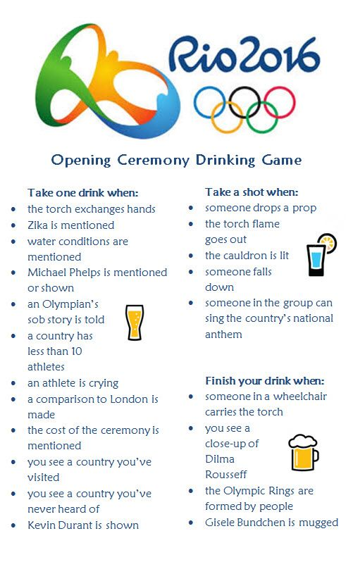 2016 Rio Summer Olympics - Opening Ceremony Drinking Game