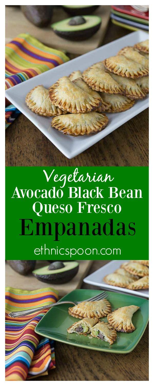 Delicious vegetarian empanadas with avocado, black beans and queso fresco. A nice crunchy Latin pastry with creamy avocado filling! Que Rico! #VidaAguacate #TusFiestas #ad | ethnicspoon.com