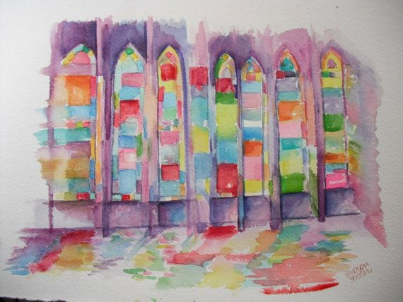 Original  Watercolor Painting  Stained Glass Windows, Orr Chapel, Mississippi University for Women on Etsy, $72.02 AUD