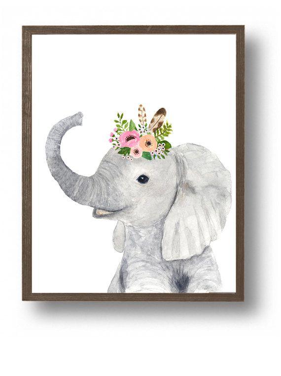 Safari baby olifant, schilderijen van dieren, safari kwekerij kunst, baby douchegift, Childrens Wall Decor, Kids poster, Safari kwekerij, kinderkamer kunst