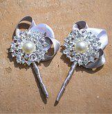 Ramos de Novia Personalizados de Swarovski, Broches, perlas, mariposas | Para Ellos