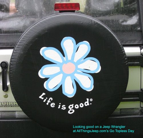 "I can see this with maybe a lotus type flower in jewel tone colors!!! LOL Not for everyone, I know, but SO my style :-))).      All Things Jeep - Life is good ""DAISY"" Spare Tire Cover"