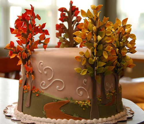 440 best decorating cake and cookies images on pinterest for Autumn cake decoration