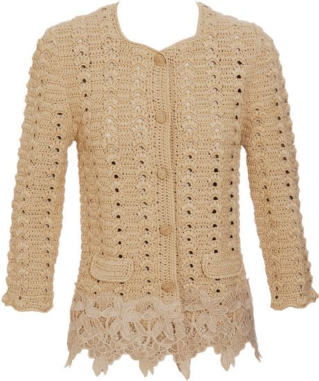 Dolce & Gabbana Gold Crochet and Lace Jacket       ♪ ♪ ... #inspiration_crochet #diy GB http://www.pinterest.com/gigibrazil/boards/